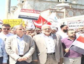 Cami avlusunda Mısıra destek eylemi