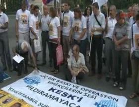 KESKli tutuklu aileleri oturma eylemi yaptı