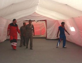 Kiliste Sahra Hastanesi kimyasal arındırma çadırı kuruldu