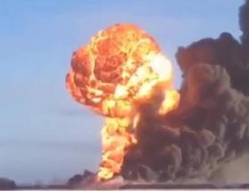 ABDde petrol yüklü trenin patlama anı kamerada