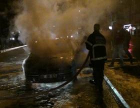 Hareket halindeki otomobilde yangın çıktı
