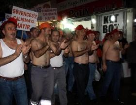 Taşeron işçilerden yarı çıplak eylem