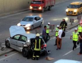 Derince tünel çıkışında kaza