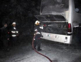 Boluda yolcu otobüsünde yangın