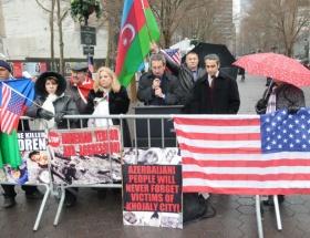 New Yorkta Hocalı Katliamı protestosu