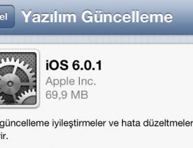 Apple iOS 6.0.1 güncellemesini yayınladı