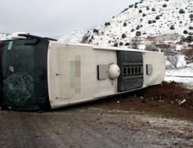 Turist otobüsü devrildi: 14 yaralı