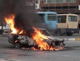 LPGli araç alev alev yandı
