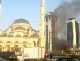 Çeçenistanın başkentinde gökdelen yangını