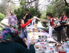 Jandarma, piknikçilere Anneler Günü sürprizi yaptı